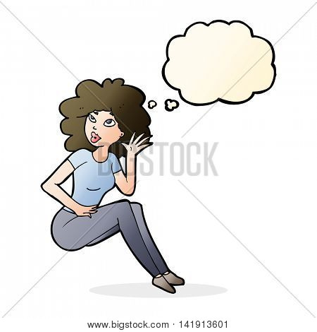 cartoon woman listening with thought bubble