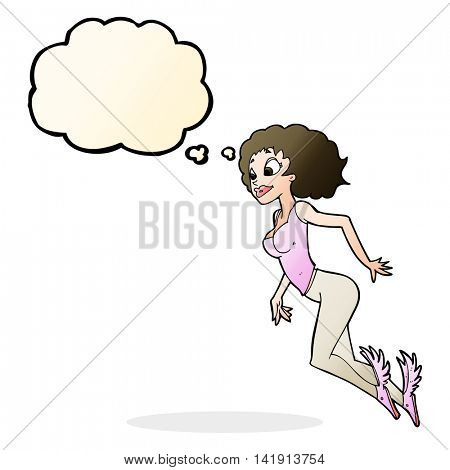 cartoon flying woman with thought bubble