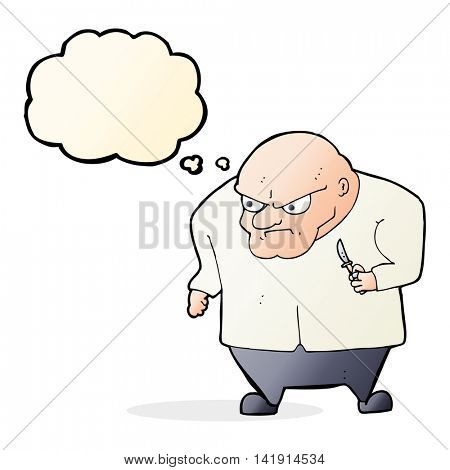 cartoon evil man with thought bubble