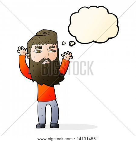 cartoon bearded man waving arms with thought bubble
