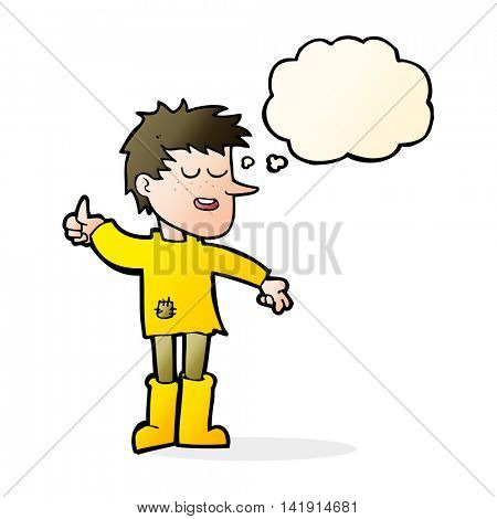 cartoon poor boy with positive attitude with thought bubble