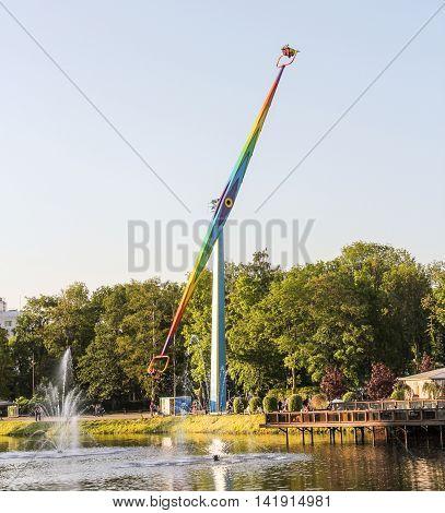 St. Petersburg, Russia - 24 May, Vertical Carousel in an amusement park, 24 May, 2016. Amusement park