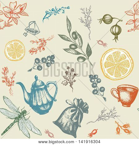 Herbal tea seamless pattern decorative hand drawn ink vintage background