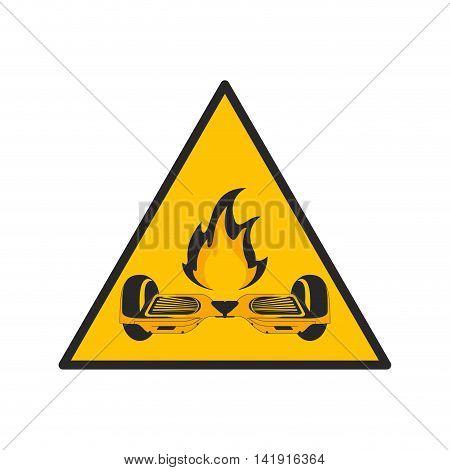 flat design horverboard in flames sign icon vector illustration