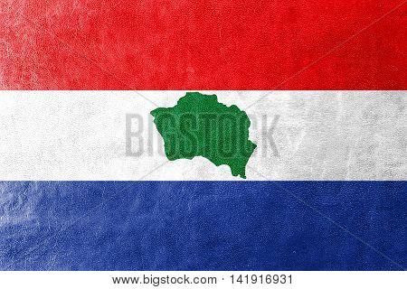 Flag Of Presidente Kennedy, Espirito Santo State, Brazil, Painted On Leather Texture