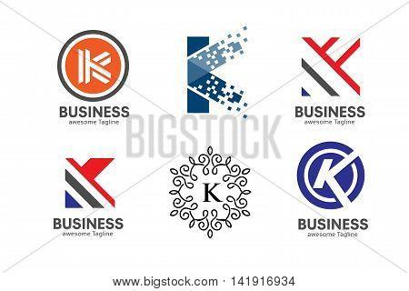 Letter K logo set, strong elegant classy concept. creative letter K tempelete logo set