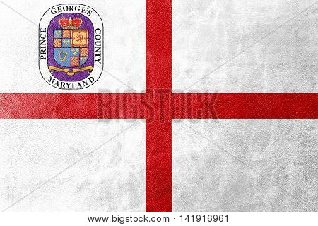 Flag Of Prince George's County, Maryland, Usa, Painted On Leather Texture