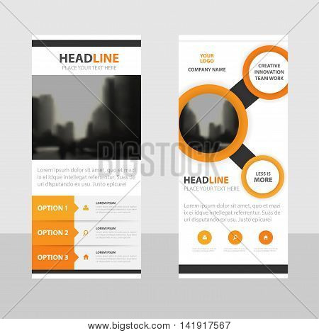 Orange circle Business Roll Up Banner flat design template Abstract Geometric banner template Vector illustration set abstract presentation brochure flyer template vertical template vector