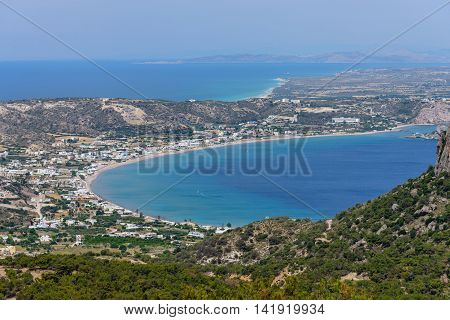 Aerial view of the sea and the coast, Kefalos village, Kos island, Dodecanese, Greece.