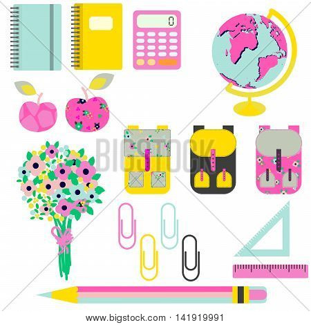 School supplies vector clip art stationery objects. Bright yellow and pink objects for first-grader - flowers, knapsack, globe, rulers and stationery items.