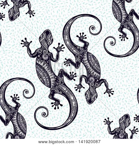Ornate Gecko lizard. Seamless pattern with geckos. Beautiful Bohemian ornament. Folk henna tattoo style pattern. Island summer vector wallpaper.