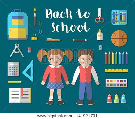 Back to school flat design modern vector illustration icons set of education and children. School supplies bag isolated, book, pencils, paint, calculator, brush, ruler, etc. with diagonal shadow