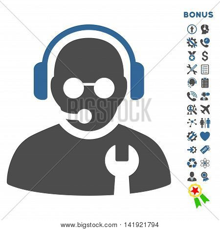Service Operator icon with bonus pictograms. Vector style is bicolor flat iconic symbol with rounded angles, cobalt and gray colors, white background.