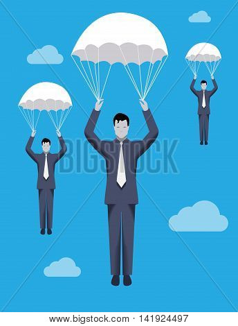 Business concept of golden parachute. Three businessmen falling down with parachutes. Financial success and good profit even in crisis times.