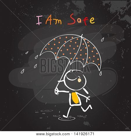 Positive affirmations for kids, motivational, inspirational concept vector illustration. I am safe text, typography. Chalk sketch on blackboard hand drawn doodle, scribble.