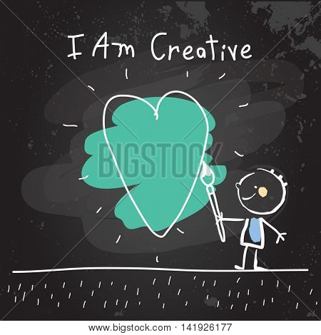 Positive affirmations for kids, motivational, inspirational concept vector illustration. I am creative text, typography. Chalk sketch on blackboard hand drawn doodle, scribble.