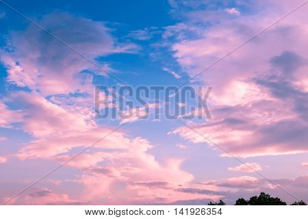 Colorful clouds on sunset sky nature background