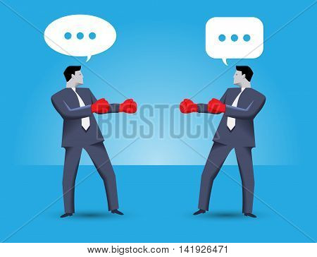 Tough negotiation business concept. Two businessmen standing against each other wearing boxer gloves and ready to fight but still trying to solve their problems via negotiation.