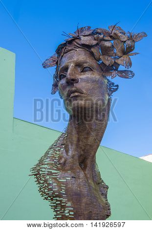 HAVANA CUBA - JULY 18 : The Primavera statue in Havana Cuba on July 18 2016. The statue was created by sculptor Rafael San Juan