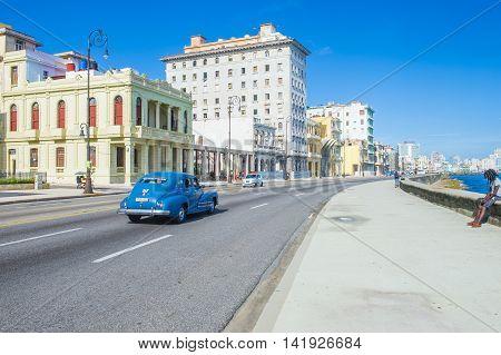 HAVANA CUBA - JULY 18 : Seaside drive Malecon in Havana on July 18 2016. The historic center of Havana is UNESCO World Heritage Site since 1982.