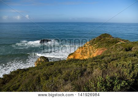 Beautiful coastal landscape and blue ocean view from Split Point Lighthouse at Aireys Inlet a small town on the Great Ocean Road Victoria Australia
