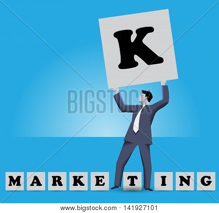 Market king business concept. Businessman holding big cube with letter K on it stands among smaller cubes with letters of work MARKETING. All letters are under his feet and he is MARKET KING