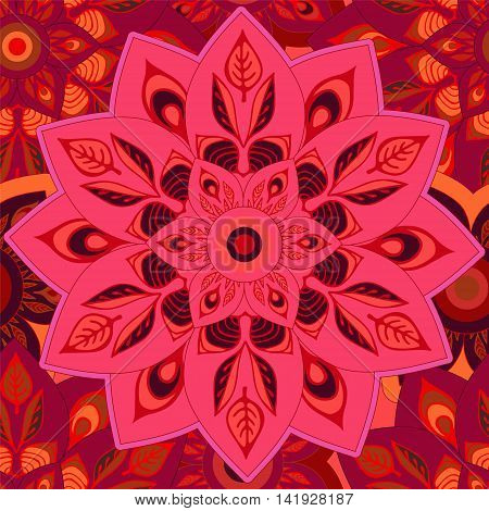stock vector seamless red mandla pattern for printing on paper fabric. Indian arabic orient ornament