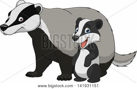 Vector illustration funny exotic animal badger family