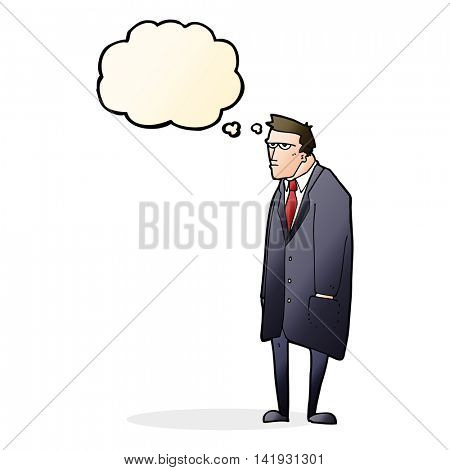 cartoon bad tempered man with thought bubble