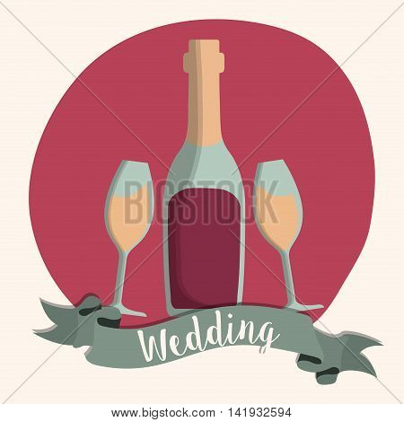 wine champaign bottle cup ribbon wedding marriage icon. Colorfull and flat illustration. Vector graphic