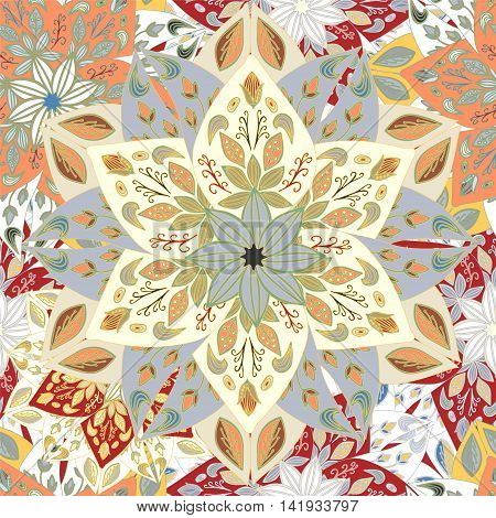 stock vector seamless mandla pattern for printing on paper fabric. Indian arabic orent ornament