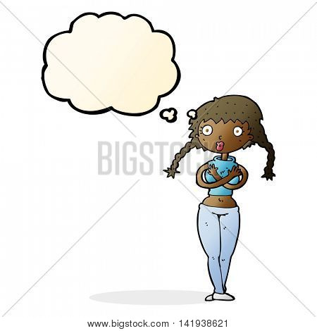 cartoon offended woman covering herself with thought bubble
