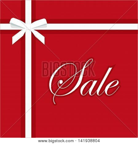Sale banner vector illustration on red background, white sale text with elegant gift bow ribbon promotion card template design