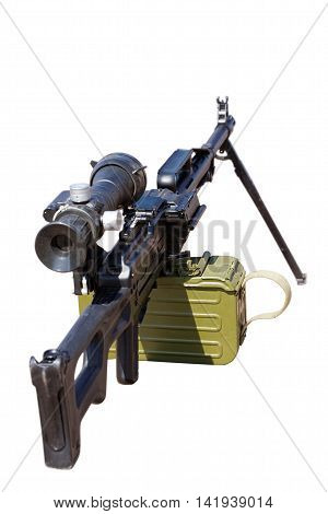 Machine gun with a telescopic sight isolated on white