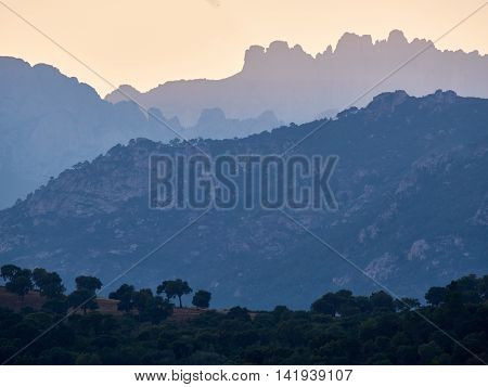 The Bavella mountain range in Corsica with its bizzare and rugged peaks