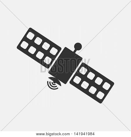 Satellite icon. Silhouette flat design vector illustration