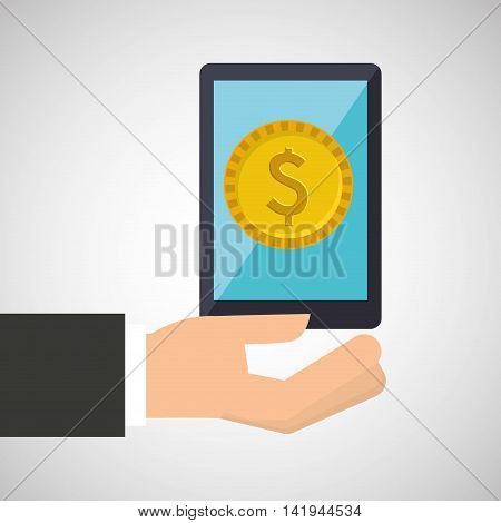 hand holding a smarphone icon, vector illustration