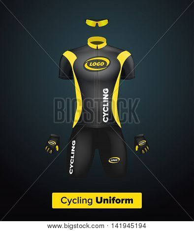 Realistic vector cycling uniform template. Black and yellow. Branding mockup. Bike or Bicycle clothing and equipment. Special kit: short sleeve jersey gloves and sun glasses. Front view