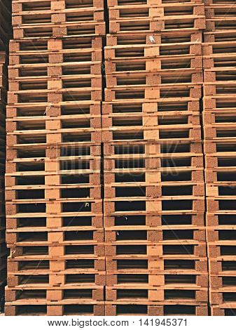 Stock Of New Wooden Euro Pallets At Transportation Company.