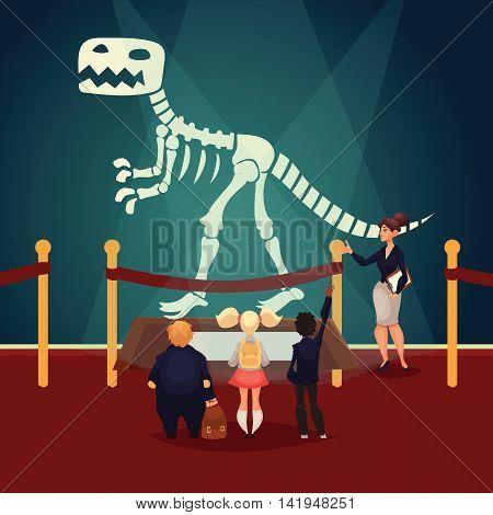 Kids in museum looking at dinosaur skeleton, cartoon style vector illustration. Museum guide telling children about a prehistoric dinosaur bones. School trip to museum
