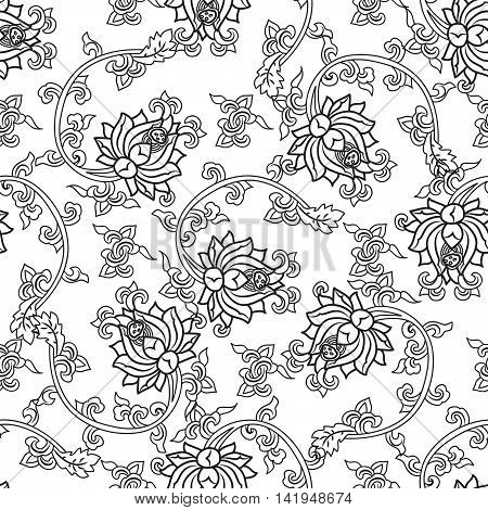 Chinese traditonal seamless pattern with outline black flowers on white background. Vector design for textile, wallpaper, fabric, packaging, coloring, covers and others