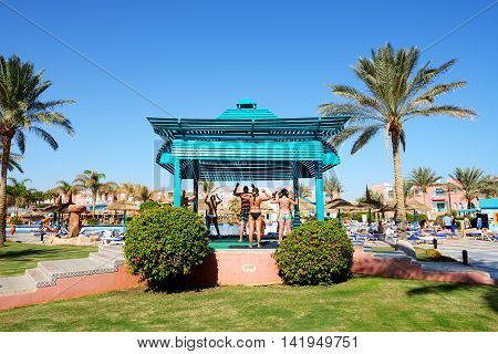 SHARM EL SHEIKH EGYPT - NOVEMBER 29: The tourists are on vacation at popular hotel on November 29 2012 in Sharm el Sheikh Egypt. Up to 12 million tourists have visited Egypt in year 2012.