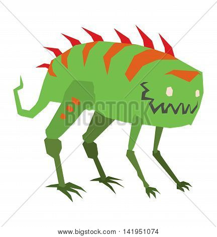Cartoon alien monster graphic mutant vector character. Toy cute alien monster cartoon creature funny animal. Vector alien small monster happy ugly comic cool toy character