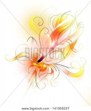 Abstract orange flower in fire - artistic sketch illustration