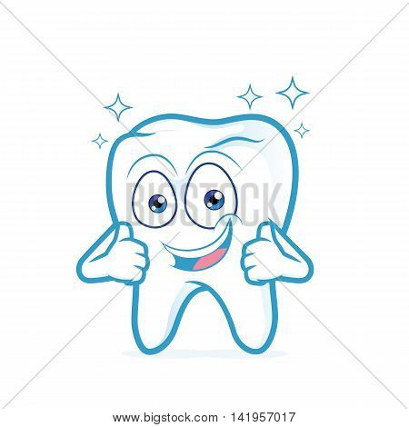 Clipart picture of a clean tooth cartoon character giving two thumbs up