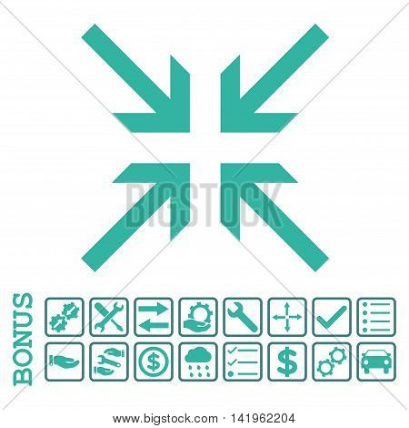 Collide Arrows icon with bonus pictograms. Vector style is flat iconic symbol, cobalt and cyan colors, white background. Bonus style is bicolor square rounded frames with symbols inside.