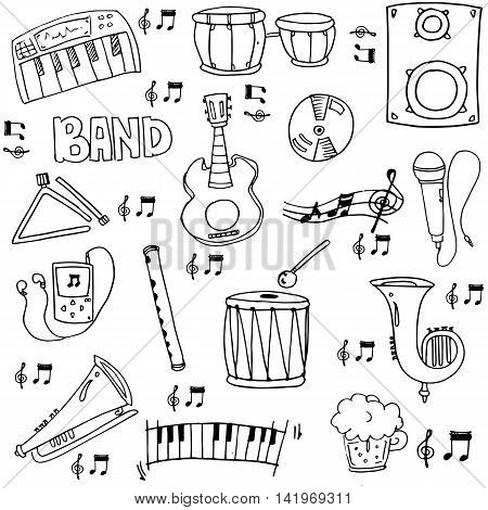 Doodle of hand draw music element stock vector collection