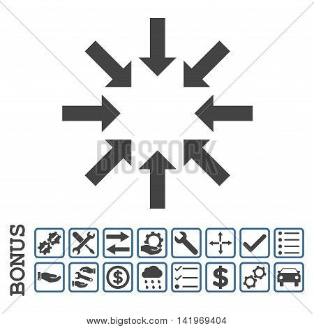 Collapse Arrows icon with bonus pictograms. Vector style is flat iconic symbol, cobalt and gray colors, white background. Bonus style is bicolor square rounded frames with symbols inside.