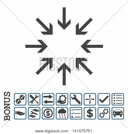 Pressure Arrows icon with bonus pictograms. Vector style is flat iconic symbol, cobalt and gray colors, white background. Bonus style is bicolor square rounded frames with symbols inside.