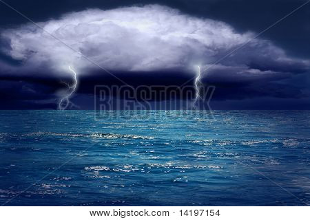Beautiful blue sea with clouds and sunlight on sky